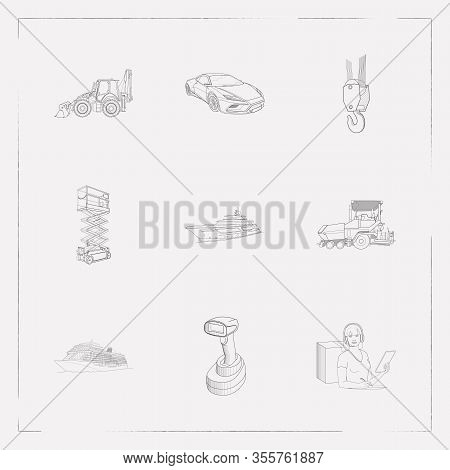 Set Of Vehicle Icons Line Style Symbols With Cruise Ship, Logistics Support, Scissor Lift And Other