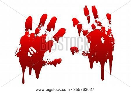 Bloody Hand Print 3d Set Isolated White Background. Horror Scary Drip Blood Dirty Handprint, Fingerp