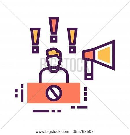 Protest Leader Color Icon. Speaker Promotes Social Protest. Public Speaking. Manifestations Of Civil
