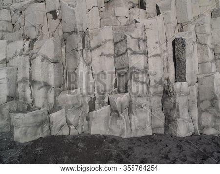 Image Of Beautiful Basalt Formations On Reynisfjara Beach In Iceland.