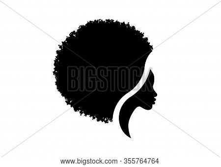 African American Woman Face Profile. Logo Women Profile Silhouette With Fashion Curly Afro Hair Styl