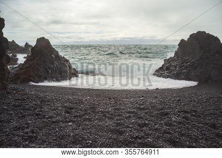 Image Of View On Beach Djupalonssandur On Iceland.