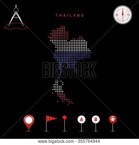 Dotted Map Of Thailand Painted In The Colors Of The National Flag Of Thailand. Waving Flag Effect. M