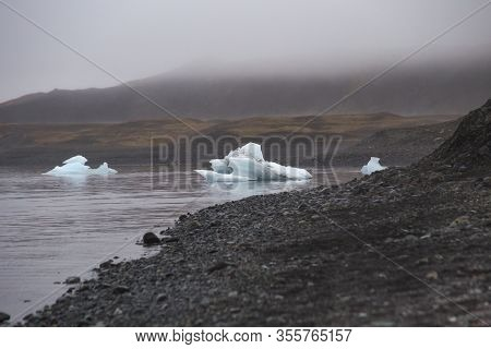 The Diamond Beach In Iceland.image Contains Little Noise Because Of High Iso Set On Camera.