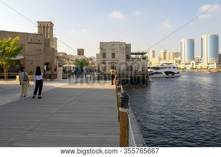 Dubai / Uae - February 21, 2020: Al Seef Village At Bur Dubai With Many Restaurants. Al Seef Distinc