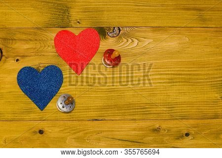 Pacifier For Baby Boy And Girl With Heart Shape On Wooden Table.baby Announcement Concept.