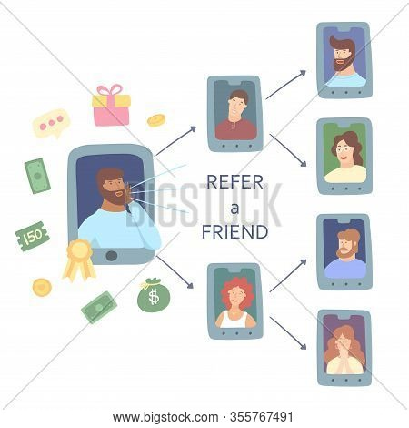 Refer A Friend Concept. Attract Friend. Dark Skinned Man Attract Her Friend From The List Of Contact
