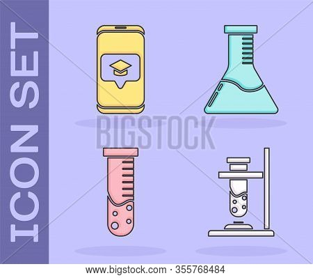 Set Glass Test Tube Flask On Fire, Graduation Cap On Screen Smartphone, Test Tube And Flask Chemical