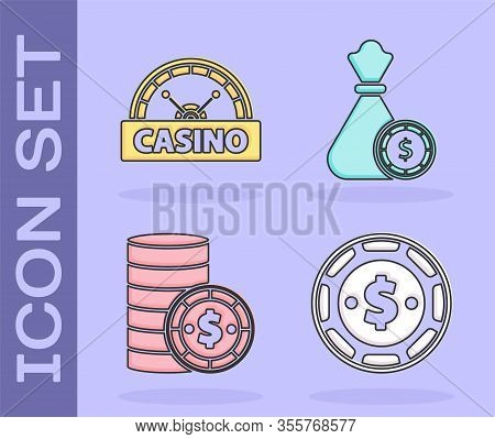 Set Casino Chip With Dollar, Casino Signboard, Casino Chip With Dollar And Money Bag And Casino Chip