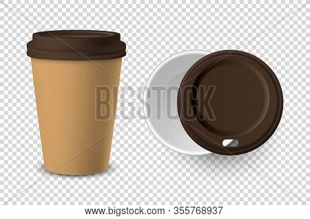 Vector 3d Realistic Brown Disposable Closed And Opened Paper, Plastic Coffee Cup For Drinks With Bro