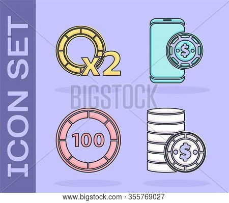 Set Casino Chip With Dollar, Casino Chips, Casino Chips And Online Poker Table Game Icon. Vector