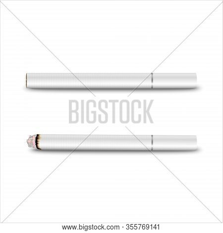 Vector 3d Realistic White Clear Blank Whole And Lit Cigarette Set Closeup Isolated On Transparent Ba