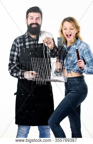 Life Is Too Short For Ordinary Good. Happy Couple Cooking Barbecue Food. Bearded Man And Pretty Girl