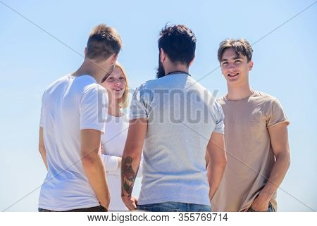 Summer Vacation. Men Woman Communicating Sky Background. Communicative Skills. Social Interaction. H