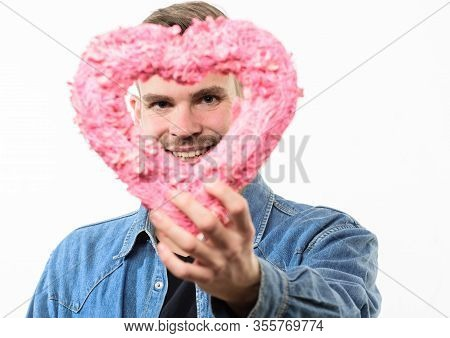 Man With Big Heart. Valentines Day Party. Happy Man With Decorative Heart. Date. Romantic Greeting.