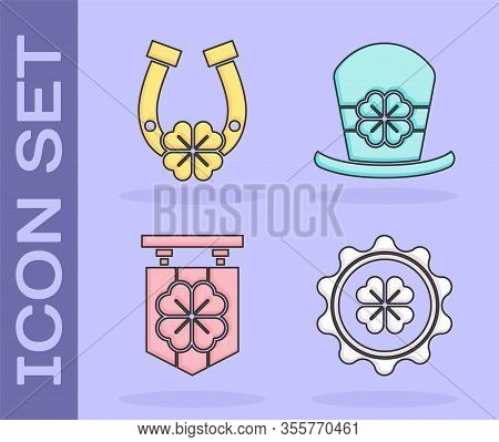 Set Bottle Cap With Four Leaf Clover, Horseshoe With Four Leaf Clover, Street Signboard With Four Le