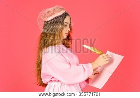 Ancient Writing With Golden Feather. Write Love Letter. Back To School. Little Artist Painter Drawin