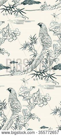 Pheasant Bamboo Flower Nature Landscape View Vector Sketch Illustration Japanese Chinese Oriental Li