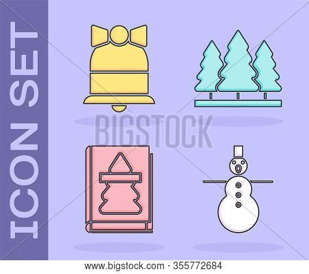 Set Christmas Snowman, Merry Christmas Ringing Bell, Christmas Book And Christmas Trees Icon. Vector