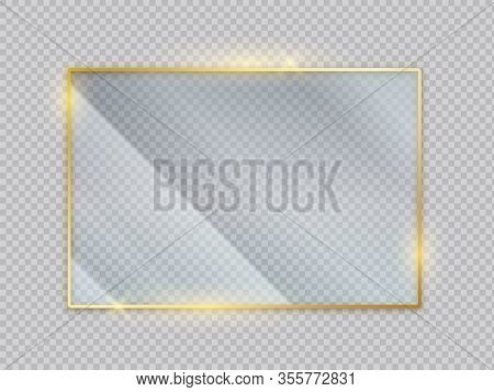 Gold Glass Transparent Banners. Golden Frame With Glare Reflection Effect. Vector Image Square Acryl