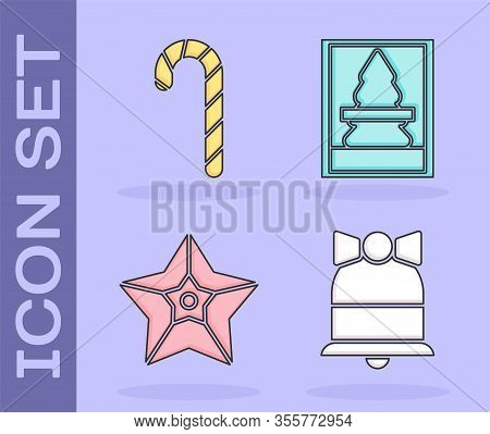 Set Merry Christmas Ringing Bell, Christmas Candy Cane With Stripes, Christmas Star And Christmas Po