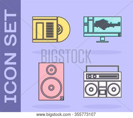 Set Home Stereo With Two Speakers, Vinyl Disk, Stereo Speaker And Sound Or Audio Recorder On Monitor