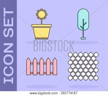 Set Garden Fence Wooden, Flower In Pot, Garden Fence Wooden And Tree Icon. Vector