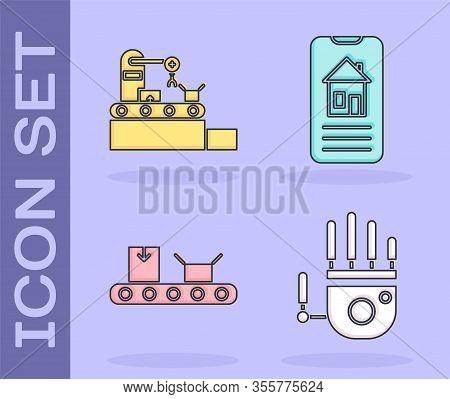 Set Mechanical Robot Hand, Factory Conveyor System Belt, Conveyor Belt With Cardboard Box And Smart