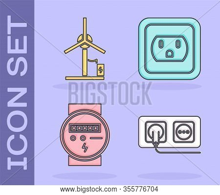Set Electrical Outlet, Wind Turbine, Electric Meter And Electrical Outlet In The Usa Icon. Vector