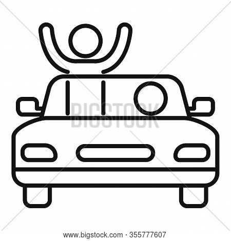 Famous Actor Cabriolet Icon. Outline Famous Actor Cabriolet Vector Icon For Web Design Isolated On W