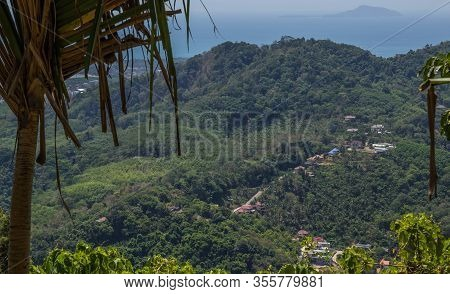 Aerial View At Khao Rang The Landmark Viewpoint Of Phuket Place In The Central Of Phuket Town. On Kh