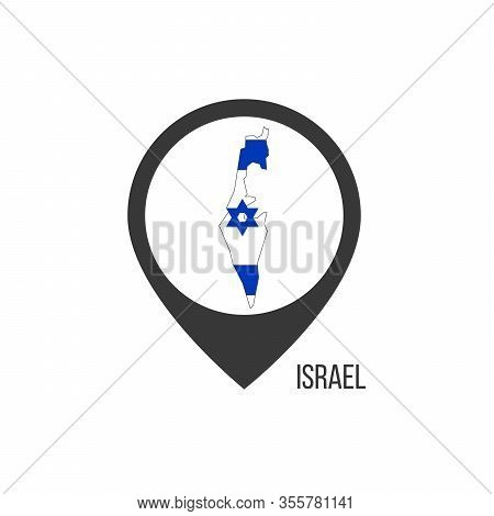 Map Pointers With Contry Israel. Israel Flag. Stock Vector Illustration Isolated On White Background