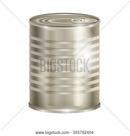 Metal Can Vector Icon.realistic Vector Icon Isolated On White Background Metal Can.