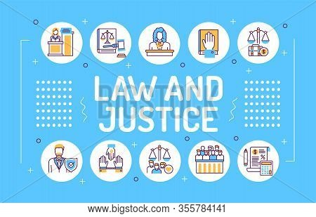 Law And Justice Word Lettering Typography. Type Of Court. Judiciary. Court Staff. Infographics With
