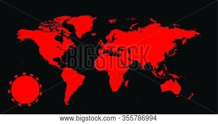 Vector World Map Illustration Of Coronavirus Epidemic. Coronavirus Covid19, World Pandemic Map