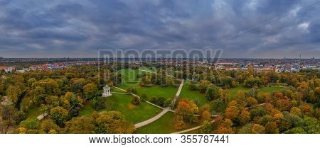 Aerial View At The Monopteros Tempel In The Englischer Garten Of The Bavarian Metropole Munich.