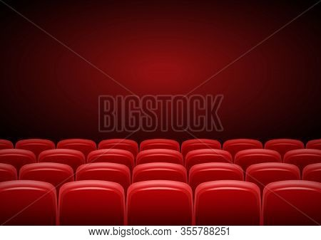 Cinema Hall Mock Up With Red Seats, Showtime, Poster Design, Vector Illustration.