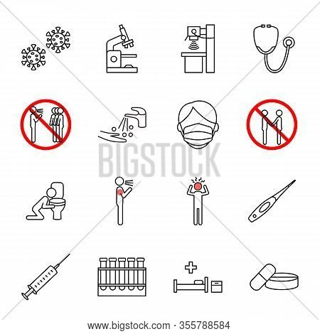 Flu And Covid-19 Virus Symptoms And Precautions Line Icon Set. Vector Illustration Disease Preventio