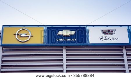Warsaw, Poland. 15 March 2020. Sign Opel, Chevrolet, Cadillac. Company Signboard Opel, Chevrolet, Ca