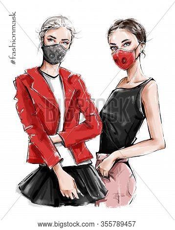 Hand Drawn Two Beautiful Young Women In Ear Loop Face Masks. Fashion Girls. Stylish Women In Masks.
