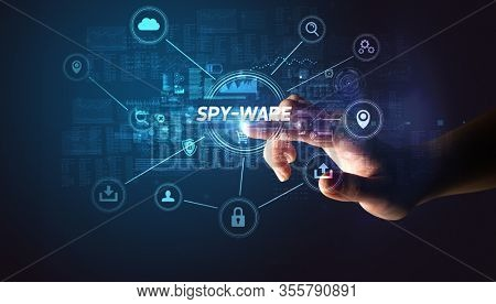 Hand touching SPY-WARE inscription, Cybersecurity concept