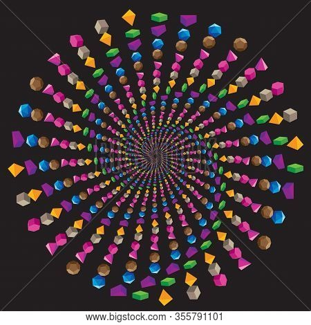 Dotted Colored Vector Spiral Pattern Or Texture. Stipple Dot Backgrounds With Color Geometric Volume