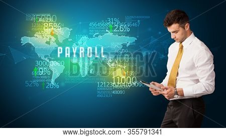 Businessman in front of a decision with PAYROLL inscription, business concept