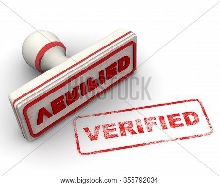 Verified. The Seal. The White Seal And Red Imprint Verified On White Surface. 3d Illustration