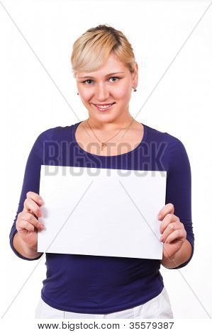 Girl with notecard. This image was made so that there is room for text.