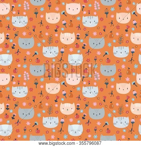 Kids Seamless Pattern With Cute Little Cats. Funny Animals On Dark Backdrop. Great For Fabric And Te