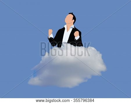 Important Person Exulting Above A Cloud In The Sky