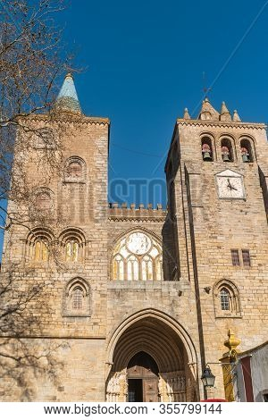 Main Facade Of The Cathedral Dated In The Xii Century Dedicated To The Virgin Mary In Evora.
