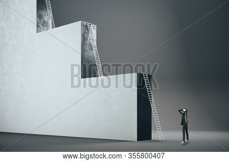 Businesswoman Looking On Concrete Ladder. Success And Challenge Concept. Mock Up