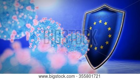 Fight Of The Europe With Coronavirus - 3d Render